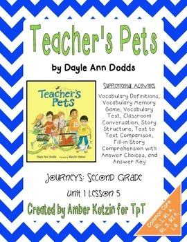 Teacher's Pets Supplemental Activities 2nd Grade Journeys