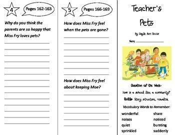 Teacher's Pets Trifold - Journeys 2nd Grade Un 1 Week 5 (2