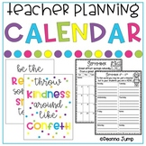 Teacher's Planning Calendar updated for 2018-2019 school year