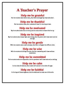 Teacher's Prayer 1