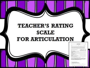 Teacher's Rating Scale for Articulation