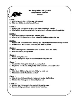 Teacher's Resource Packet for Mrs. Frisby and the Rats of NIMH
