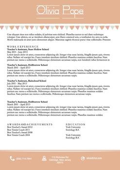 Teachers Resume Template Docx | Peach Banners