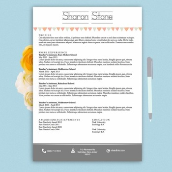 Teacher's Resume Design Template Docx | White and Grey