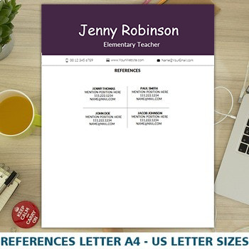 FREE Teacher's Resume Template for MS Word, Elementary CV, Digital Download