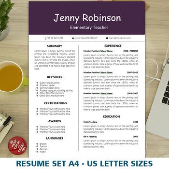 FREE Teacher's Resume Template for MS Word, Elementary CV, Digital Download