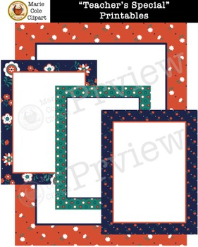"""""""Teacher's Special"""" Backgrounds, Cover Pages & Printables [Marie Cole Clipart]"""