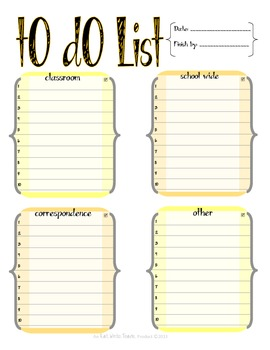 Teacher's To Do List (Bright and Cheery)
