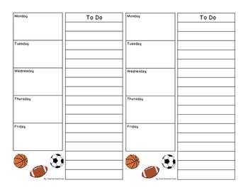 Teachers To Do List Sports Theme