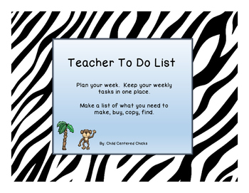 Teachers To Do List Zoo Theme Zebra Print