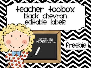 Teacher's Toolbox - Black Chevron {Editable}