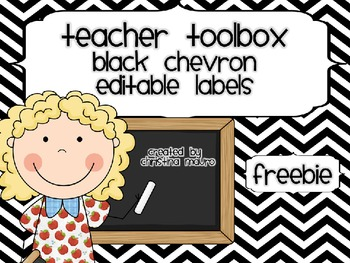 Teacher's Toolbox - Black Chevron {Editable}