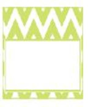 Teachers Toolbox Editable Labels Lime Green Chevron