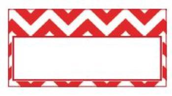 Teachers Toolbox Editable Labels Red Chevron