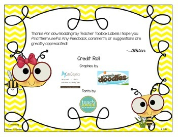 Teachers Toolbox Labels--Bee Themed or Custom