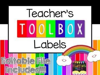 Teacher's Toolbox Labels - Happy Rainbow! {EDITABLE File I