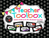 Teacher's Toolbox! Polka Dot Black and White  - 18 Drawer Labels