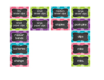 Teacher's Toolbox! Polka Dot and Chalkboard - 18 or 22 Drawer Labels