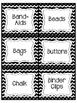 Teacher's Ultimate Supply Label List- Black White Chevron