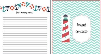 Teacher's Yearly Planner Binder - Nautical, Ocean, Beach Theme