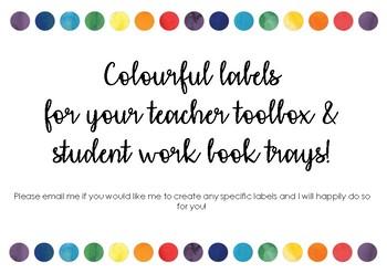 #ausbts18 Teachers toolkit labels colourful dots *not editable*