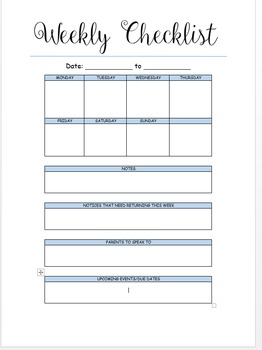 Teachers weekly checklist