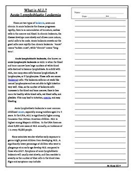 Informational Text Leukemia/Jeffery's Symptoms (Drums,Girls & Dangerous Pie)