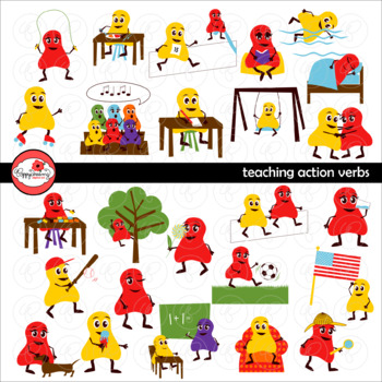 Teaching Action Verbs Clipart and Flashcards by Poppydreamz