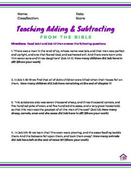 Teaching Adding & Subtracting from the Bible Series 1