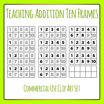 Teaching Addition 10 Frames With Numbers Clip Art for Commercial Use
