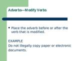 Teaching Adverbs Powerpoint