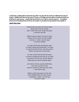 "Teaching Figurative Language-Allusion--The Clark's ""Born Too Late"""