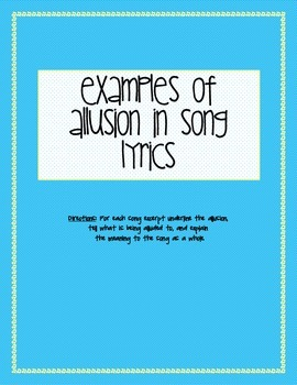 Teaching Allusions through popular Song Lyrics