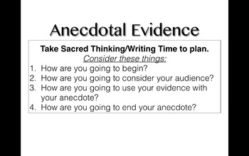 Writing Essays with Anecdotal Evidence