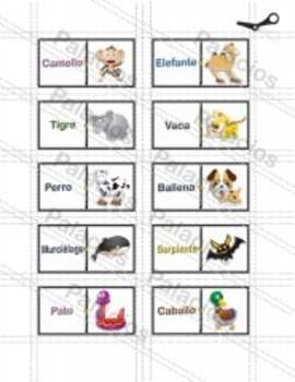 Teaching Spanish Animal Names with Pictures in a Dominoes Game