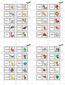 Teaching Spanish Animal Names with Pictures in a Dominoes Game (FULL)