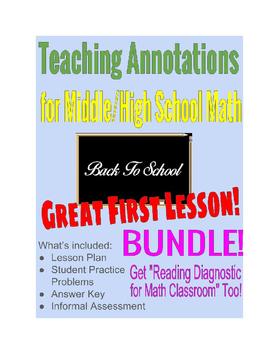 Annotations for Base Ten Word Problems & Math Class: Reading Diagnostic *Bundle*