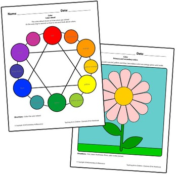 Teaching Art To Children - Elements Of Art 12 part color wheel and flower