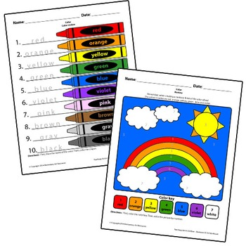 Teaching Art To Children - Color Crayon Review and Color By Number Rainbow
