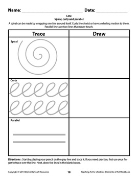 Teaching Art To Children - Elements Of Art - 20 Page Section about Line
