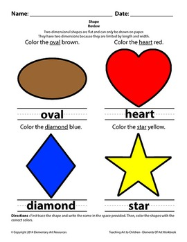Teaching Art To Children - Elements Of Art 2D Shapes Tracing and Writing
