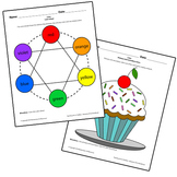 Teaching Art To Children - Elements Of Art 6 part color wheel and cupcake