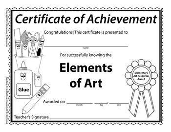 Teaching Art To Children - Elements Of Art Certificate Of Completion