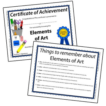 Teaching Art To Children - Elements Of Art Certificate Of