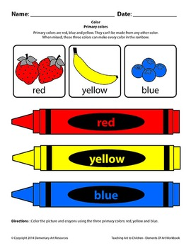 Teaching Art To Children - Elements Of Art Primary Colors With Color Wheel