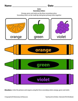 Teaching Art To Children - Elements Of Art Secondary Colors With Color Wheel