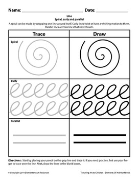 Teaching Art To Children - Elements Of Art spiral, curly and parallel lines