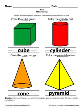 Teaching Art To Children - Art 3D Forms Figures, Cylinder, Cone, Pyramid