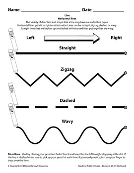 Teaching Art To Children - Tracing Horizontal Lines Worksheet Elements Of Art