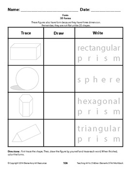 Teaching Art to Children Elements of Art Workbook - 200+ Worksheets on Elements